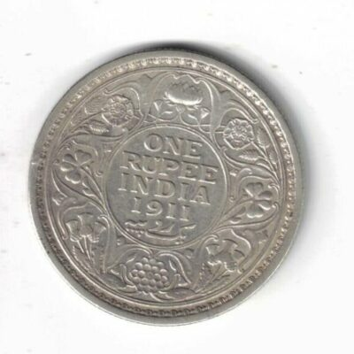 One Rupee 1911 George V British India Silver Coin