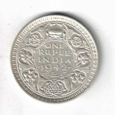 One Rupee George VI 1942 Silver Rupee Coin