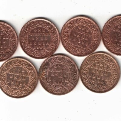 7 COINS KING EDWARD QUARTER ANNAS 1903 TO 1910 POLISHED COINS