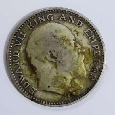 1909 Silver Half Rupee Edward VII King And Emperor
