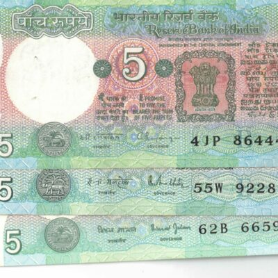 LOT OF 8 NOTES OF 5 RS DIFFERENT GOVERNORS (DEER, GANDHI, TRACTOR NOTES)