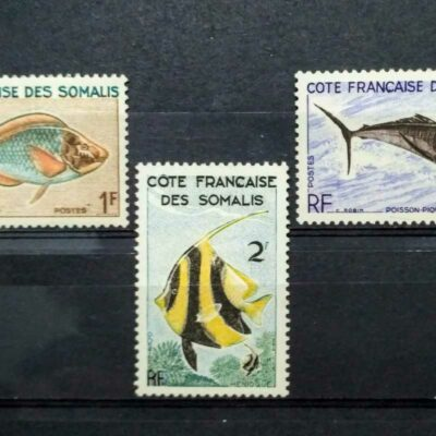 French colonies Butterflies and Fishes (8 stamps)