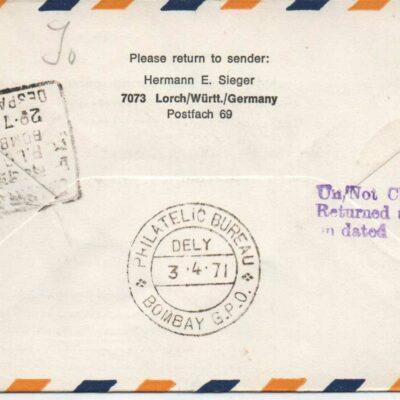 Lufthansa First Cover, Frankfurt – Bombay, LH694, 1971, Return to sender