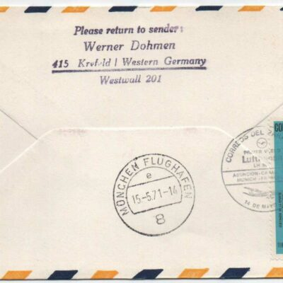 Lufthansa First Cover, Asuncion (Paragua) – Munich, 509, 1971