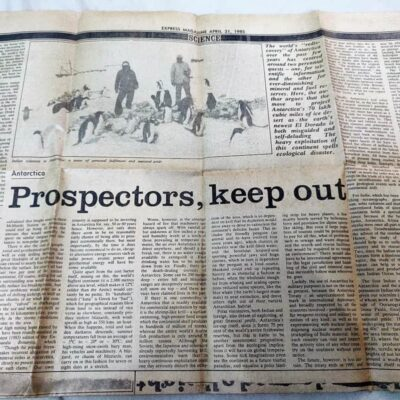 Newspaper clipping from 21 Apr 1985, half page, full articles on both sides, Express Magazine clipping