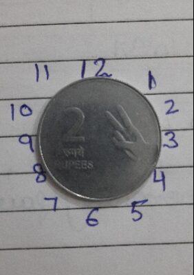 Error 2 Rupee 6'clock coin