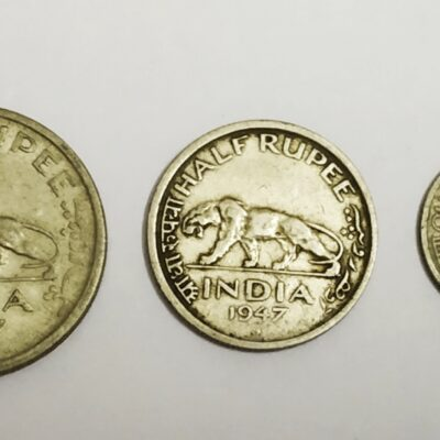 Last British India Coins 1 Rupee, 1/2 Rupee, 1/4 Rupee 1947 Coin Set Tiger KGVI