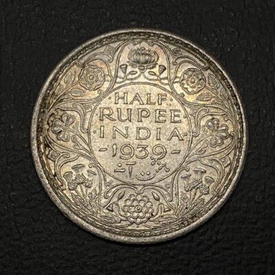 King George VI Silver Half rupee 1939, UNC, Bombay mint