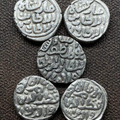 Delhi Sultan, MUBARAQ SHAH, Billon Silver CHAUGANI, 5 different dates and varieties