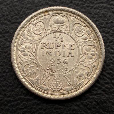 King George V Silver 1/4 rupee 1936