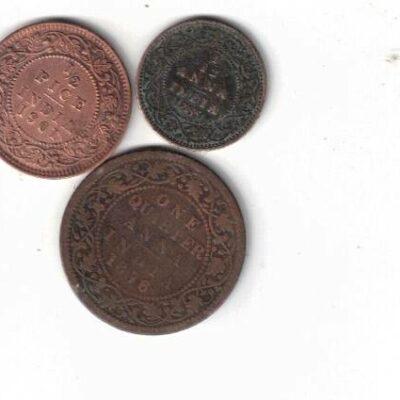 3 COINS QUEEN VICTORIA 1/12 ANNA, 1/2 ANNA, AND ONE QUARTER ANNA