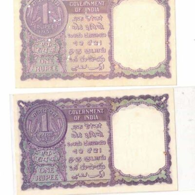 LOT OF 5 NOTES 1RS SIGN 4 GOVERNOR 1951-1957-1957-1963-AND 1965