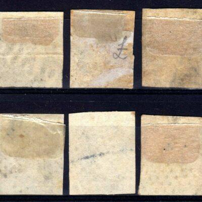INDIA 1854 BLUE 1/2 ANNA LITHO LOT