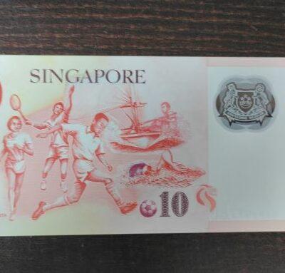 SINGAPORE 10 DOLLARS POLY PLACIT NOTE GEM UNC RARE ENDING HOLY NO 6EP 297786