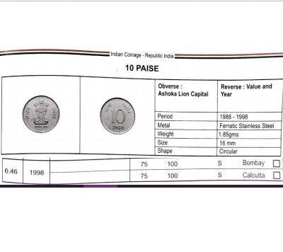 Scarce 10 Paisa Coin with Error on both side of coin….  XF Condition