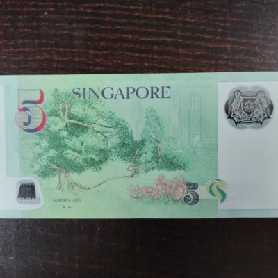 5 SINGAPORE DOLLARS POLY WATER PROOF NOTE ENDING HOLY NO 4BB 736786