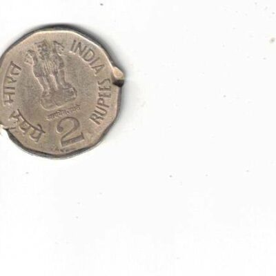 2 RS COIN SADAR VALLABH BHAI PATEL 1996 CUTTING ERROR RARE COIN