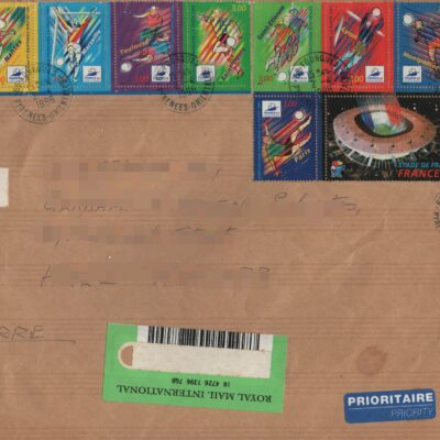 Postally used 5 large envelopes with stamps, from USA, France and Australia