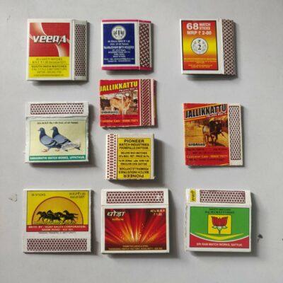 Matchbox labels – 10 labels lot, horses and animals