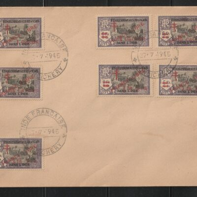 French India 1943 Pondicherry complete set on 2 covers