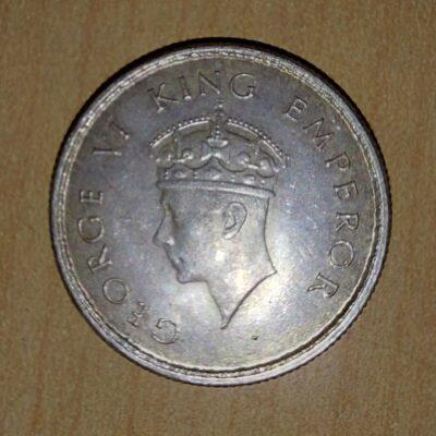 Half Rs Silver Coin 1939 George VI