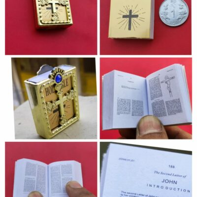 Holy Bible Tiny Miniature with attractive cover (Golden/Silver)