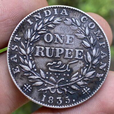EAST INDIA COMPANY WILLIAM IIII SILVER RUPEE F. INCUSED