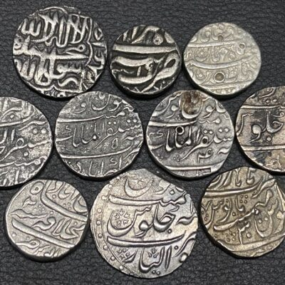 SILVER RUPEE SET OF 10 MUGHAL EMPERORS