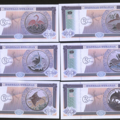 C12 Cuba set of 6 Souvier banknotes (Fauna I) Featuring fishes & birds on coin