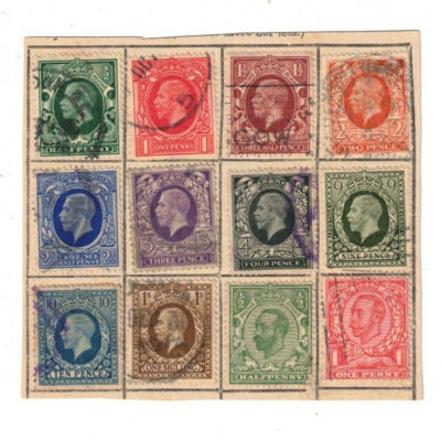 great britain 28 stamps 1912 to 1929 used xf condition