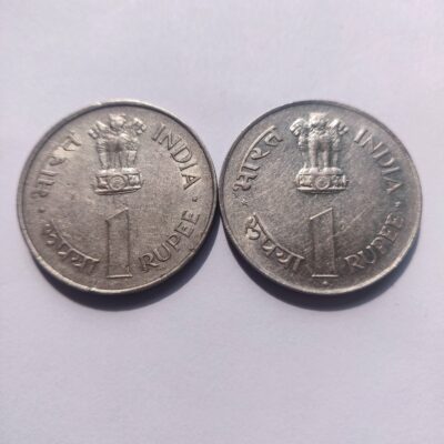 1Rs Jawaharlal Nehru 1964 commemorative coins Calcutta and Bombay Mint