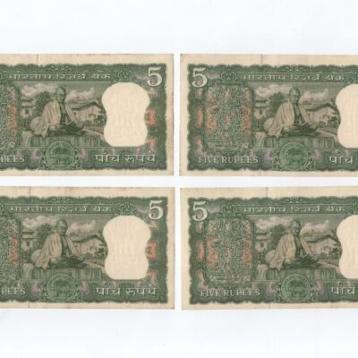 5Rs Note Gandhi LK Jha, crisp condition, four notes in sequence