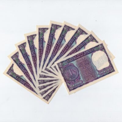 1Rs Notes 1969 IG Patel, 10 Notes in sequence 196350-59, New notes
