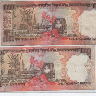 1000Rs old notes YV Reddy sign, fancy-number 044000 and 500000