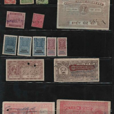 India Princely States Fiscal stamps lot, 25 stamps, includes some India fiscals