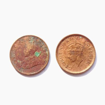 British India 1/12 Anna two coins KGV 1930 and KGVI 1941