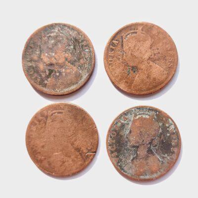 Victoria Empress Quarter Anna four coins