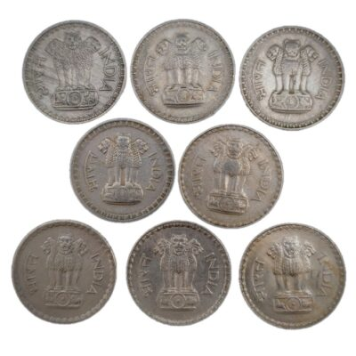 1Rs Dabbu coins, 1975 to 1982, mix mint, 8 coin set, used