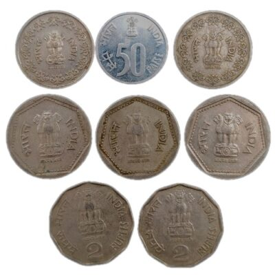 Foreign mint coins mix lot, 50p, 1Rs, 2Rs, lot of 8 coins
