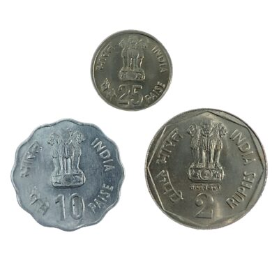 1982 Asian Games Commemorative Coins 10p, 25p, 2Rs