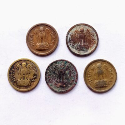 1 paise coins, First 1 Naya Paisa coins, 5 different years, Bronze and Nickel-brass