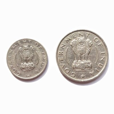 1/4 Rs and 1/2 Rs coins 1955-56