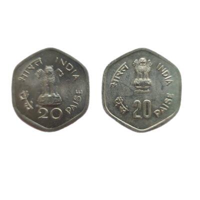 20 paise Commemorative Coins, 2 coins 1982, 1983