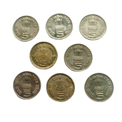 5Rs Commemorative Coins lot of 8 coins, Copper-Nickel, 9 gms