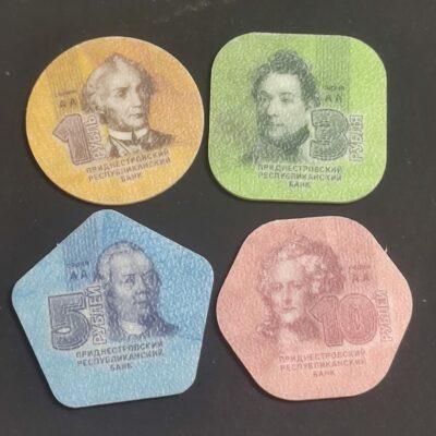 T1 Transnistria set of 4 different plastic coins